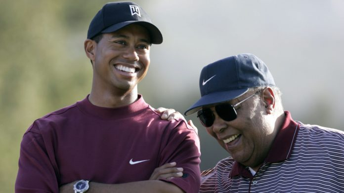 Tiger Woods with his father Earl Woods (image - HBO)