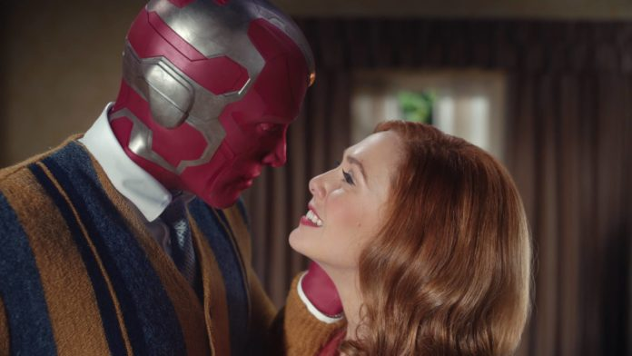 Paul Bettany as VIsion and Elizabeth Olsen as Wanda Maximoff (image - Disney)