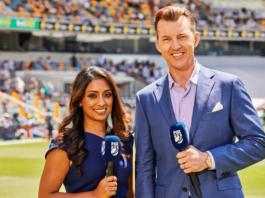 Isa Guha with Brett Lee at the Gabba in Brisbane (image - Fox Cricket)