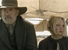 (from left) Captain Jefferson Kyle Kidd (Tom Hanks) and Johanna Leonberger (Helena Zengel) in News of the World (image - Netflix)