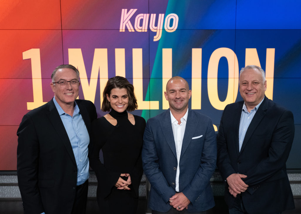Foxtel CEO, Patrick Delany with Hannah Hollis, Mark Frain, and Julian Ogrin (image - Foxtel)