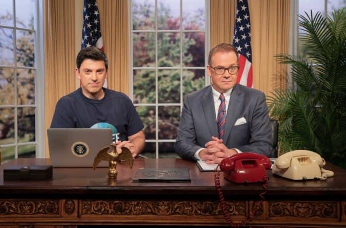 Chas Licciardello and John Barron host Planet America (image - ABC)